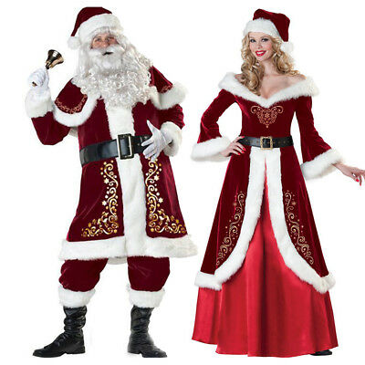 Christmas Santa Claus Cosplay Adult Costume Fancy Dress Party Suit Outfit Xmas - Adult Santa Outfit