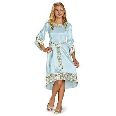 Girls Maleficent Costume Blue Aurora Fancy Dress Child Gown Kids Halloween S M - Maleficent Kids Costume