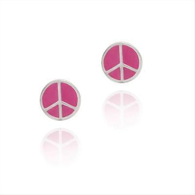 925 Silver Pink Enamel Peace Sign Symbol Earrings