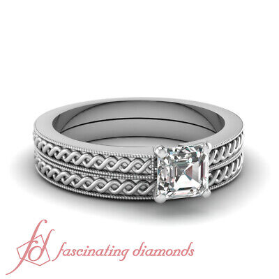 .56 TCW. Asscher Cut VS1 Diamond Solitaire Interweave Style Bridal Rings Set GIA