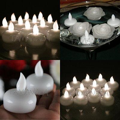 12 White Amber LED Waterproof Floating Tea ...