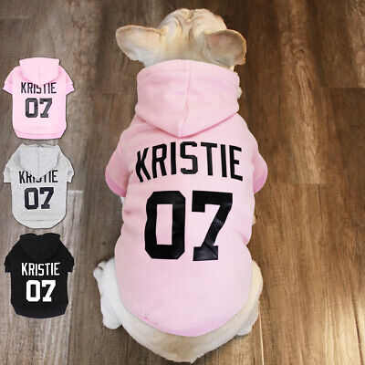 Custom Personalized Dog Hoodie Sweatshirt Pet Name Clothes Gray Black Pink -