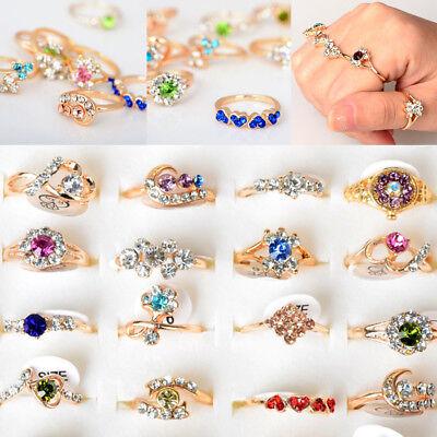 50/80/100pcs Wholesale Mixed Jewelry Crystal Rings Wedding Band Unisex Ring - Wholesale Wedding