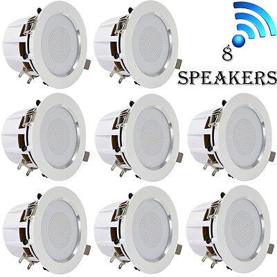8  3   Bluetooth Ceiling Wall Speaker Kit  Aluminum Frame W  Built In Led Light