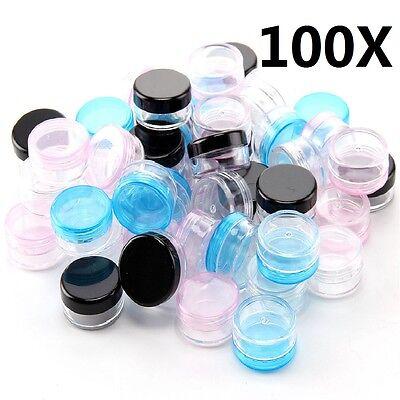 100x 5ml Plastic Sample Pots/Jars Glitter/Make Up/Cosmetic/Nail Art/Cream Colors