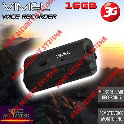 Voice Recorder Listening Device 16G Vimel 3G GSM Remote Activation No Spy Hidden