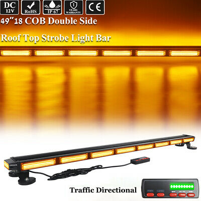 49 Led Cob Strobe Light Bar Emergency Warning Amber Four Side Roof Top Security