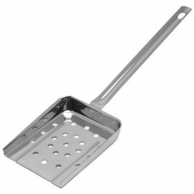 Stainless Steel Chip Scoop With Drainage Holes Shovel Bagger French Fires Server