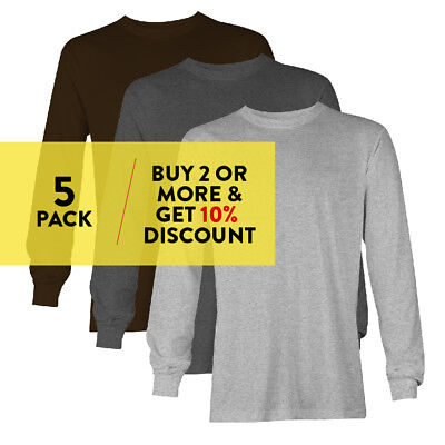 5 PACK AAA ALSTYLE CASUAL MENS LONG SLEEVE T SHIRT PLAIN SHIRTS COTTON TEE WORK