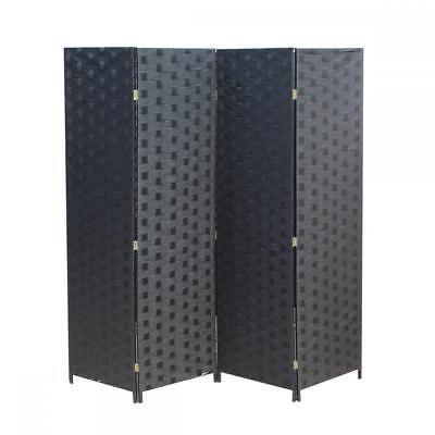 (Wood Mesh Woven Design 4 Panel Folding Wooden Screen Room Divider 180)