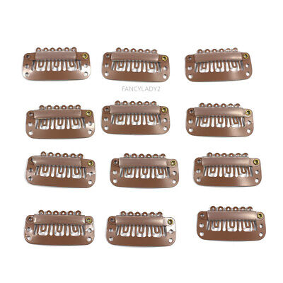 12pcs Wig Snap Metal Hair Clips For Wigs / Hair Extensions 32mm light brown USps (Hair Metal Wigs)