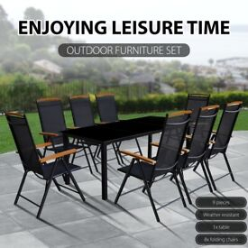 9 Piece Outdoor Dining Set with Folding Chairs Aluminium Black-41735
