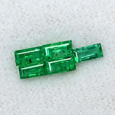 Natural Emerald 5x2.5 mm Baguette Cut Lot 1.35 Cts 5 Pcs Gemstone Zambia Offer