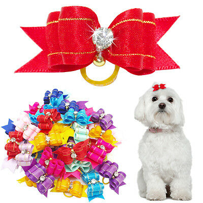 50/100pcs Wholesale Bling Samll Cat Dog Hair Bows Grooming Accessory for Yorkie