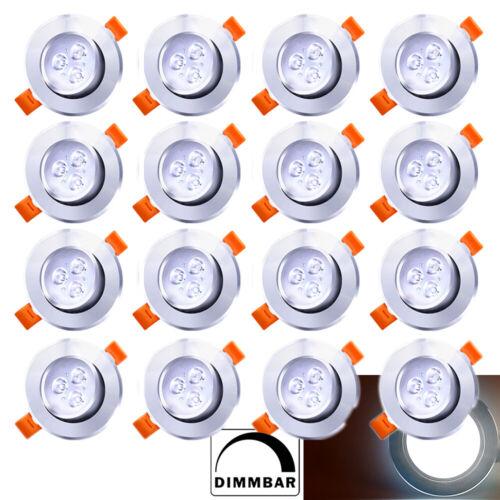 20x LED Spot Einbaustrahler Set 3W Einbauleuchte Deckenleuchte Strahler Kaltweiß