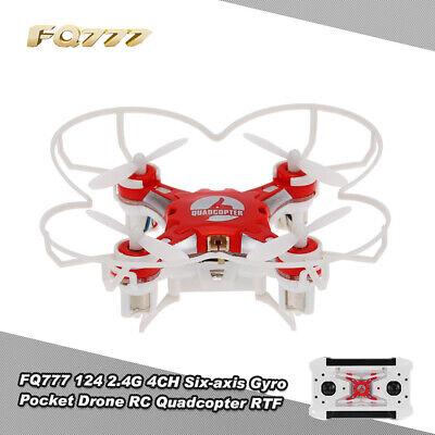 FQ777 124 2.4G 4CH 6-axis Gyro Pocket Drone RC Quadcopter RTF Red Newest S6J1