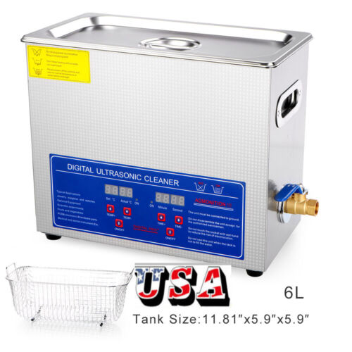 6L Ultrasonic Cleaner Industry Heated Heater w/Timer Jewelry Glasses US Stock