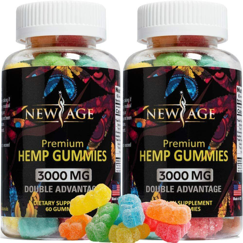 (2 Pack) New Age Naturals Advanced Hemp Big Gummies 3000mg 120ct - 100%...