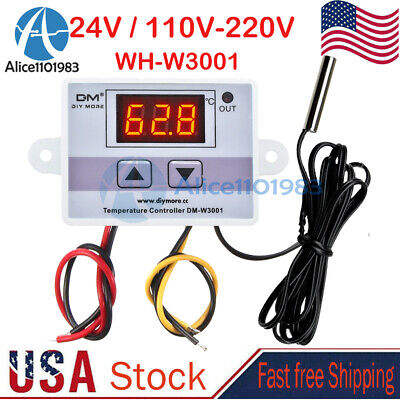 Dc 24v Ac 110-220v Digital Led Temperature Thermostat Controller Switch Probe