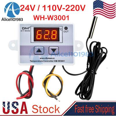 Dc 24v Ac 110-220v Digital Led Temperature Thermostat Controller Switch Probe