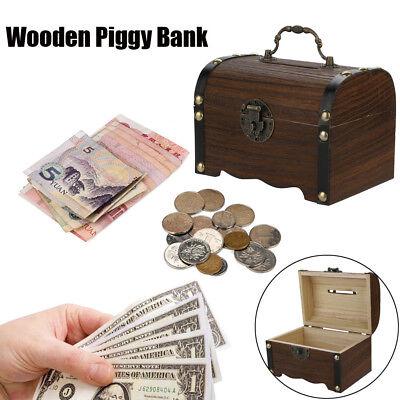 Hucha de madera madera dinero seguro caja ahorros con cerradura de madera_x