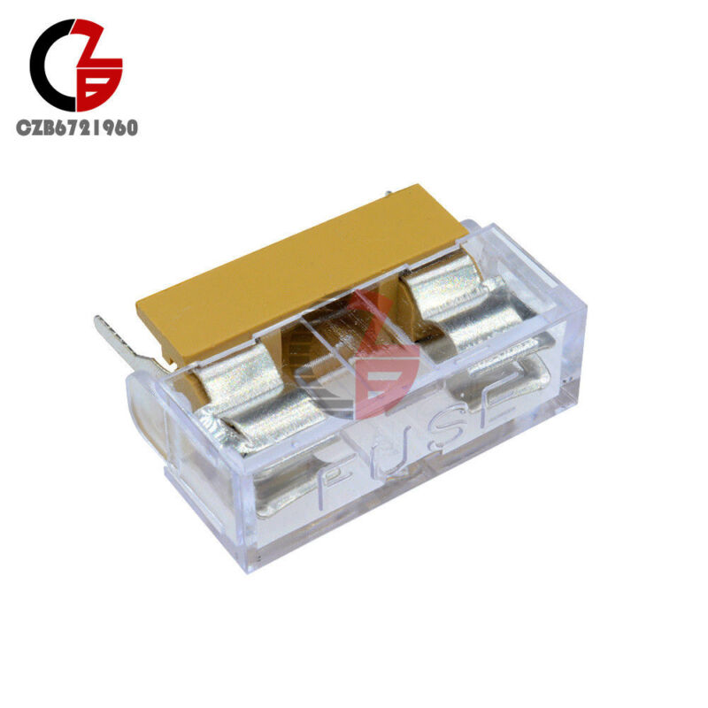 10pcs Panel Mount Pcb Fuse Holder With Cover For 5x20mm Fuse 6a 250v