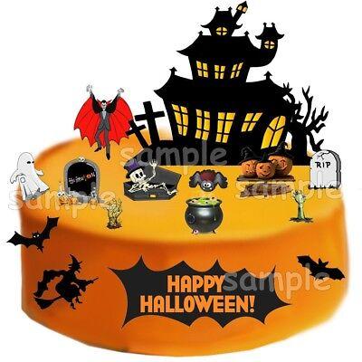 Halloween Party Deko Muffinaufleger Tortendeko neu Tortenbild Hexe Spinne Vampir