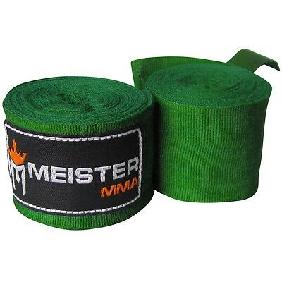 "FOREST GREEN 180"" ELASTIC HAND WRAPS - Meister MMA Cotton Boxing Wraps Mexican"
