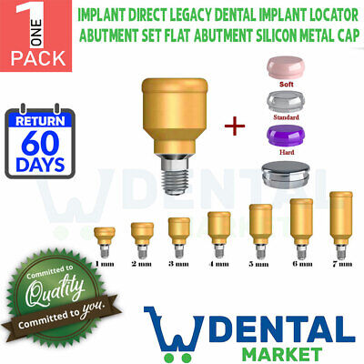 X 1 Implant Direct Legacy Dental Locator Abutment Set Flat Silicon Metal Cap