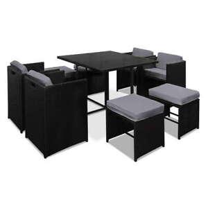 Bondi 9PCS Black PE Wicker Outdoor Dining Set