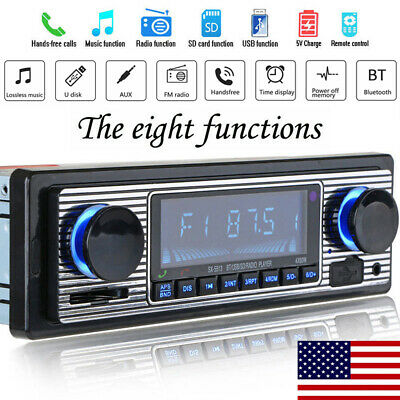 US Vintage Car Bluetooth Radio MP3 Player Stereo USB/AUX Classic Stereo Audio FM