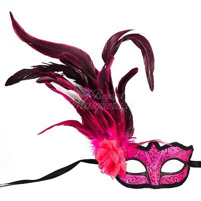 Pink Fashionable Venetian Feather Mask with Rose - Neon Color Masquerade Mask - Masquerade Mask With Feathers