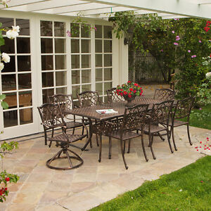 outdoor patio furniture 9pcs expandable table 8 chairs