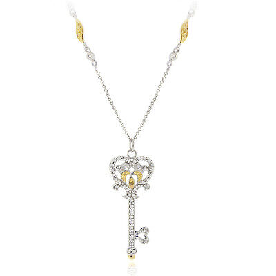 2 Tone Diamond Heart - 925 Silver 2-Tone Yellow Diamond Owl Heart Key Necklace