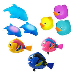 Baby-Bath-Toys-3xYellow-Ducks-3xBlue-Dolphin-with-LED-Lights-3xWind-Up-Fish