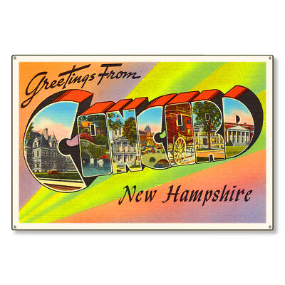 Concord New Hampshire NH Large Letter Postcard Metal Sign Wall Decor STEEL 36x24