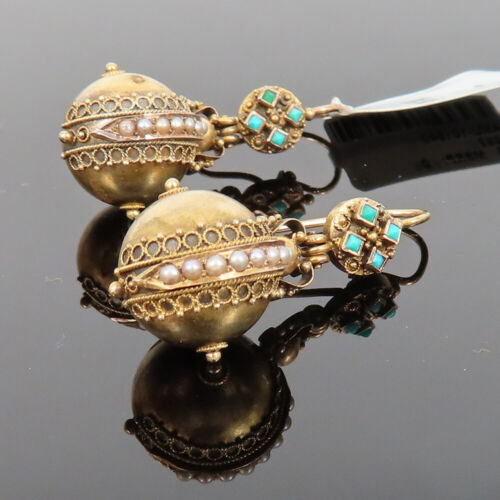 Antique Turquoise & Natural Pearl Handmade 18K Yellow Gold Decorated Earrings