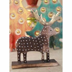 Cute Fair Trade Wooden Hand Carved Christmas Rudolph Statue