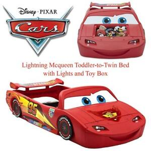 NEW Disney/Pixar Cars Lightning Mcqueen Toddler-to-Twin Bed with Lights and Toy Box Condtion: New