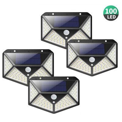 4X 100LED Lámpara Solar Luz Aplique con Detector de Movimiento Focos Jardín