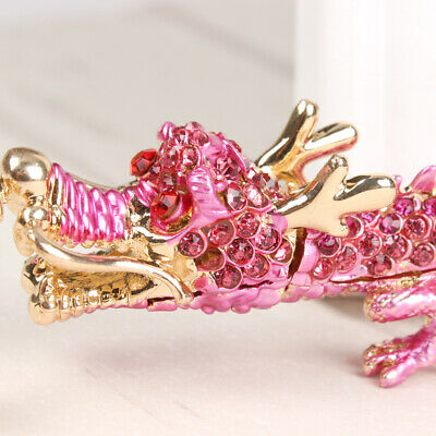 Pink Chinese Long Dragon Lovely Pendant Crystal Purse Bag Car Key Ring Keychain
