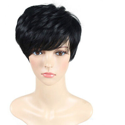 Pixie Wig Short Cut Fashion Women Cosplay Party Straight Black Hair With Wig Cap - Short Black Hair Wig