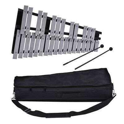 Foldable 30 Note Glockenspiel Xylophone Wooden Frame Aluminum Bars Percussion