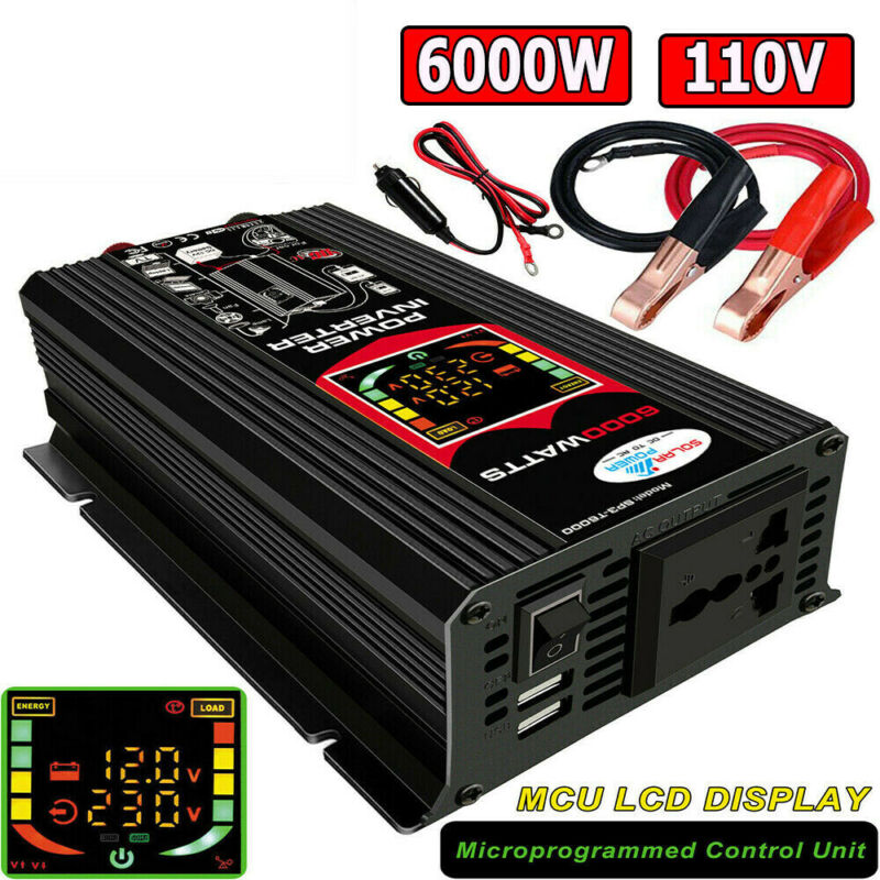 6000W Power Inverter DC 12V to AC 110V Car Sine Wave Converter 2 USB Modified