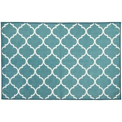 Ruggable 2-pc Washable Rug System: 3' FT X 5' Ft Washable Moroccan Trellis Teal