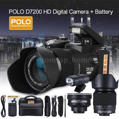 """POLO D7200 HD 33MP 3"""" LCD 24X ZOOM Digital DSLR Camera Camcorder Wide Angle Lens"""