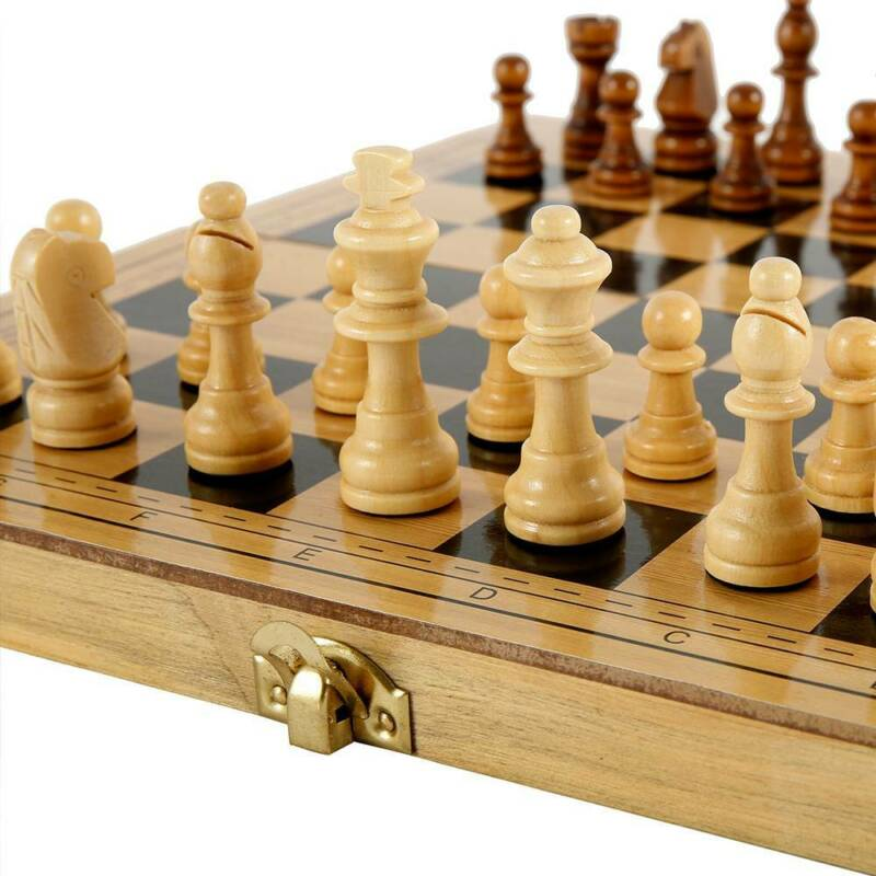 Folding Large Chess Wooden Set Chessboard Magnetic Pieces Wo