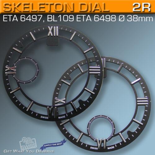 DIAL SKELETON Ø 38 MM FOR MOVEMENT ETA UNITAS 6497, BL109 or ETA 6498, BLACK