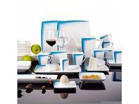 Malacasa, Series Rebeca, Blue 40-Piece China Ceramic Porcelain Dinner set