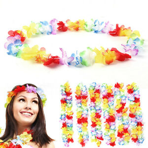 Pack of 50 Lei Flower Garlands Necklace Hawaiian Tropical Beach Party Dress
